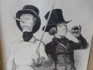 détail gravure daumier deux jeunes gens fumant