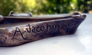 détail signature bronze Jacopin pièege à rat