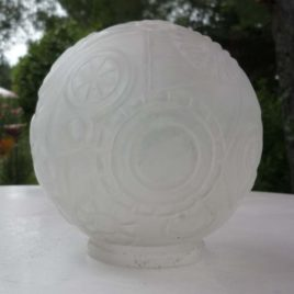 globe ancien en verre dépoli