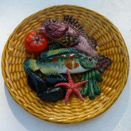 Assiette Vallauris décor poissons